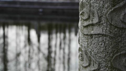 Forest eflection in water,Bridge columns at courtyard garden Footage