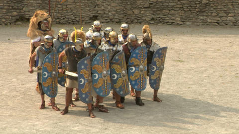 roman gaul fight 03 Stock Video Footage