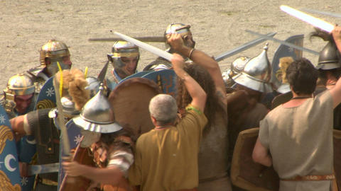 roman gaul fight 05 Stock Video Footage