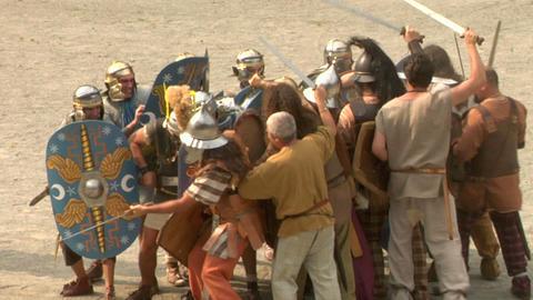 roman gaul fight 05 Stock Video Footage