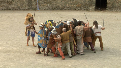 roman gaul fight 07 Stock Video Footage