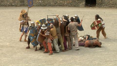 roman gaul fight 07 Stock Video Footage