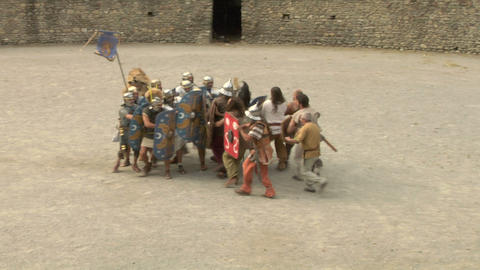 roman gaul fight 09 Stock Video Footage
