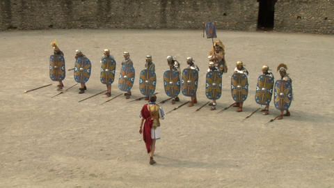 roman praetorian deployment 03 Stock Video Footage