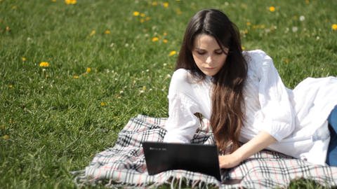 Young woman with laptop Stock Video Footage