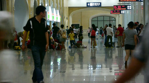 The waiting hall of train station,chinese of China Stock Video Footage