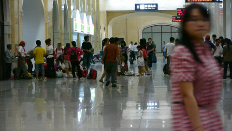 The waiting hall of train station,chinese of China Footage