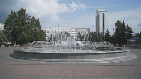 Krasnoyarsk City Fountain 01 Stock Video Footage