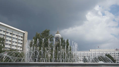 Krasnoyarsk City Fountain 03 Stock Video Footage