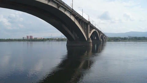 Bridge Over Yenisei River 01 Stock Video Footage