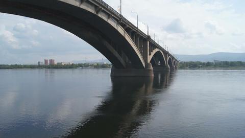 Bridge Over Yenisei River 01 Stock Video Footage