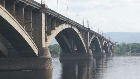 Bridge Over Yenisei River 03 Stock Video Footage