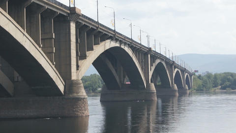 Bridge Over Yenisei River 03 Stock Video Footage
