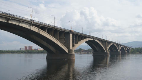 Bridge Over Yenisei River 05 Stock Video Footage