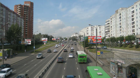 Krasnoyarsk City Traffic Timelapse Stock Video Footage