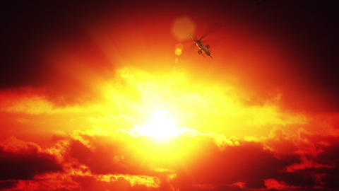 Helicopters against sunset Stock Video Footage