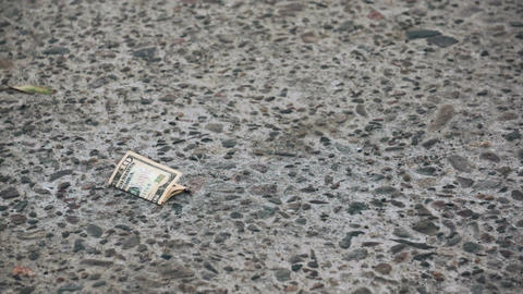 Finding Lost 10 Dollar Bill on the Street Stock Video Footage