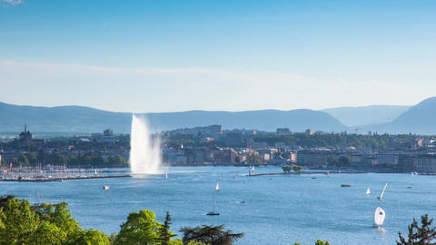 Timelapse of the Geneva water fountain in switzerland - Jet d'eau de Geneve Footage