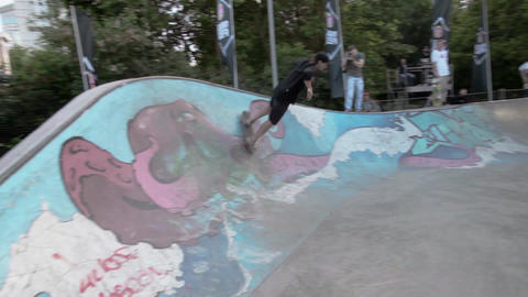 Skater ride in skate park. Contest. Summer. Camera moves Footage