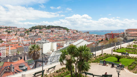 4K timelapse of Lisbon rooftop from Sao Pedro de Alcantara viewpoint - Miradouro Footage