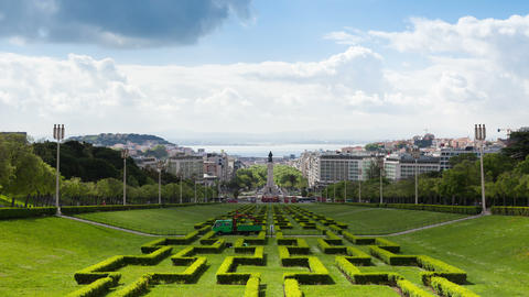 4K timelapse of Edward vii park in Lisbon, Portugal - UHD Footage