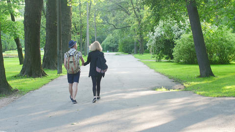 Back side of walking in love couple with backpacks. Summer. Park. Holding hands Footage