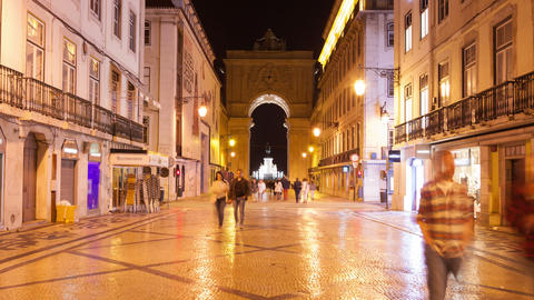 4K Night Timelpase Of Augusta Street Near Commerce Square In Lisbon , Portugal - stock footage