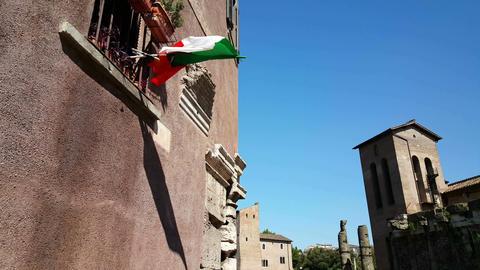 Italian Flag Waving On Building stock footage