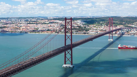 4K timelapse of 25 de Abril (April) Bridge in Lisbon - Portugal - UHD Footage