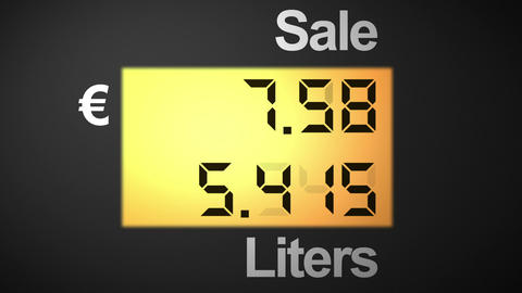 Fuel station pump display, euro Stock Video Footage