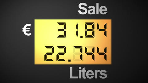 Fuel station pump display, euro Animation