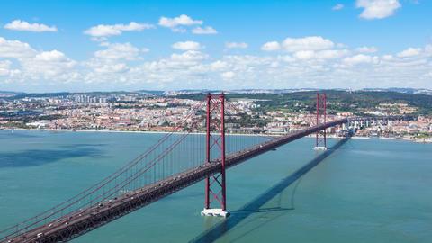 4K timelapse of 25 de Abril (April) Bridge in Lisbon - Portugal - UHD Footage