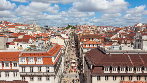 4K Timelpase Of Augusta Street Near Commerce Square In Lisbon , Portugal - UHD stock footage