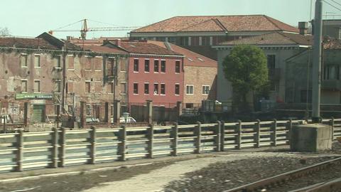 View From Train Window, Crossing Bridge Venice Footage