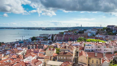 4K timelapse of Lisbon rooftop from Sao Vicente de fora church in Portugal - UHD Footage