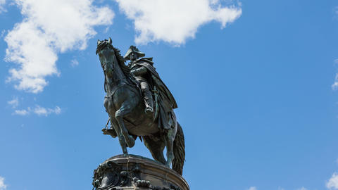 4k Timelapse of George Washington statut with clouds moving on background Footage