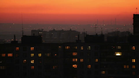 City skyline after sunset, horizontal panorama Live Action