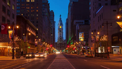 4K night timelapse of Philadelphia streets - Philly timelaspe - Pennsylavania US Footage