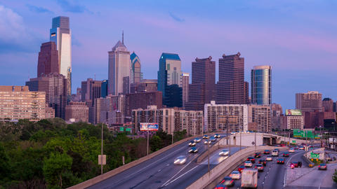 Day to night Timelapse of the philadelphia skyline - Pennsylvania USA Footage