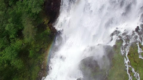 Aerial view of beautiful waterfall in Norway Footage