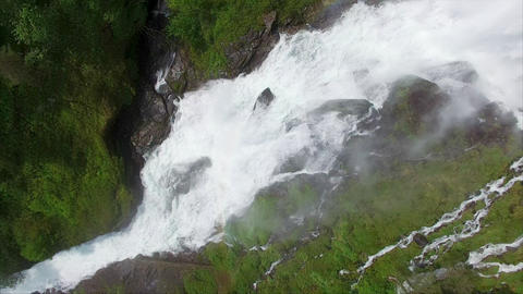 Aerial footage of massive waterfall in Norway, Ryfylke Footage