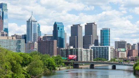 Timelapse of the philadelphia skyline - Pennsylvania USA Footage