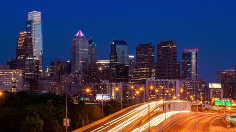 Day to night Timelapse of the philadelphia skyline - Pennsylvania USA Footage