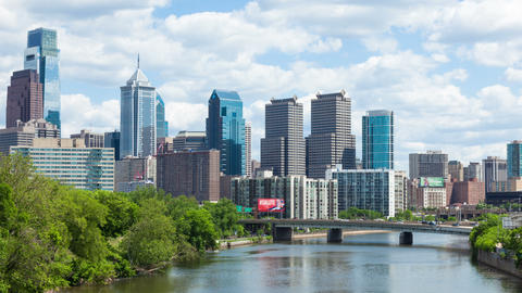 Timelapse of the philadelphia skyline - Pennsylvania USA Footage
