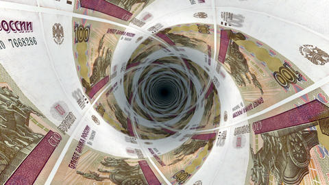 Background from Russian ruble banknotes in perspective view Animation