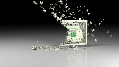 Dollar banknotes is falling apart Animation