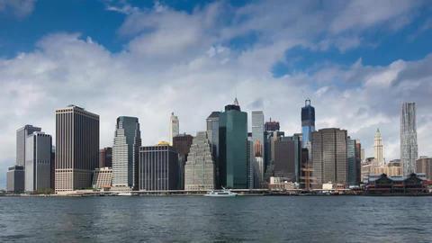 Sunset timelaspe of Manhattan skyline and Brooklyn bridge - New York - USA Footage
