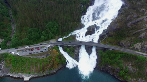 Langfossen waterfalls in Norway, aerial footage on cloudy day Footage