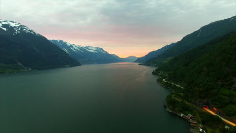 Famous Hardanger fjord, Norway, in the evening, aerial footage Footage