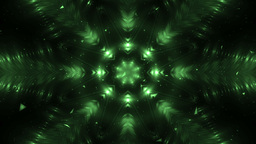 Abstract Green Background Fractal Snowflakes Animation